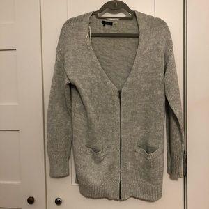 Dex heather grey cardigan with zip detail